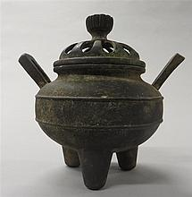 Korean bronze censor and cover, , Tripod censer with twin lug handles and two raised string bands to body, the cover openworked with fl