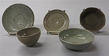 Five Korean Puncheong inlaid dish and celadon bowls, , Including two round bowls, an octagonal bowl and two dishes