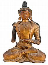 A gilt-lacquer seated Buddha, 18th century, The figure seated in dhyanasana, dressed in monastic robes and adorned in ornamental jewler