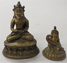 A Chinese gilt bronze figure of Buddha, , Together with a small gilt-bronze figure of a bodhisattva.