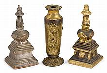 Chinese gilt bronze joss stick holder and two miniature stupas, 18th / 19th century, The joss stick holder of tapering cylindrical form