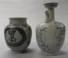 Two Korean blue and white porcelain jars, joseon dynasty, Including a ewer with spout and plate form everted rim and a ovoid jar