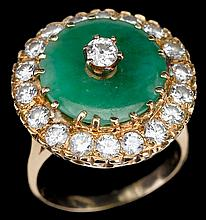 Chinese 14k yellow gold, jadeite and diamond dress ring, , Yellow gold set with nineteen diamonds and central green jadeite disk.