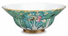 Chinese petal-lobed famille rose ogee 'cabbage' bowl, jiaqing mark and of the period, The tiered bowl decorated to exterior to resemb