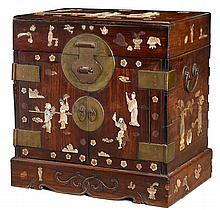 Chinese abalone applied hongmu seal chest, 19th century, Decorated throughout in abalone with figures and scholar's items, the top com