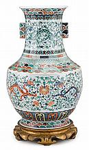 Massive Chinese famille rose and underglazed porcelain vase, qianlong mark, 19th century, Hu form, rectangular mouth over lug handles s