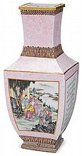 Large Chinese famille rose porcelain square vase, republic period, The square vase gilt painted around rim, neck and base with lingzhi,