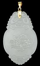 Chinese celadon jade pendant, , Oval form pendant carved with crane and turtle on each side, between stylized dragons and clouds on top