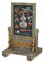 Chinese spinach jade and cloisonne 'da ji' table screen, , The rectangular removable table screen depicts a double gourd vase holding