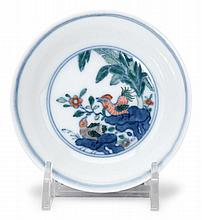 Chinese doucai 'chicken' small dish, caihuatangzhi mark but later, The small dish enamelled with chicken among rockwork, flowers and