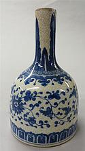 Chinese blue and white porcelain mallet form vase, late qing dynasty, White glaze with craquelore, decorated with Indian lotus motifs,
