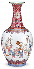 Chinese famille rose porcelain 'boys' vase, daoguang mark and of the period, The oviform body finely enamelled with boys at play; som