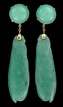 Pair of Chinese jadeite earrings, , Carved in the shape of pea pods, 18k gold