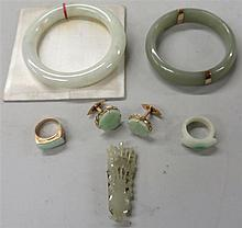 Group of jade jewelry, , Including a white and emerald highlight jadeite ring, a 18k mounted jadeite ring, a mottled white jade round b