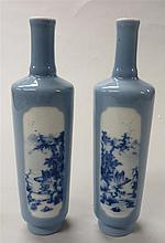 Pair of Chinese cylindrical porcelain vases, yongzheng mark, 20th century, The vase with straight sides and slender tall neck covered i