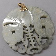 Chinese mottled jade 'fu shou' pendant, 19th century, Circular pendant carved with coins, shou symbol and a bat, 8k gold mount