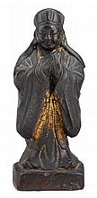 Chinese bronze casting of a standing scholar, ming dynasty, With remaining traces of gilt and red lacqure to chest and near base; the s