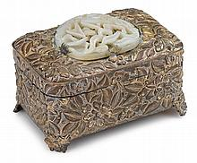 Chinese white jade mounted brass box, yuan / ming dynasty, The concave heart-shaped jade pierce carved with one bird among flowering te