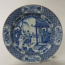 Chinese blue and white charger, kangxi period, The large dish decorated with a scene from Chinese opera, the rims with scholar's items