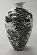 Chinese grisaille porcelain meiping vase, qianlong mark, modern, The vase decorated with figures under a pine grove with mountainous la