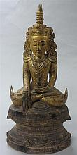 Burmese gilt wood seated Buddha, , Gilt painted, raised on tiered plinth