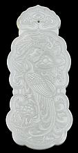 Chinese white jade pendant, , Shaped ruyi cloud form pendant carved with phoenix to front and chilong verso