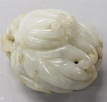 Chinese mottled jade carving of 'Buddha's hand citron', , Carved as a large and small citrus fruit surrounded by a few lingzhi spray