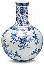 Large Chinese blue and white 'sanduo' bottle vase, , Painted in Ming style with scrolling lotus motifs above flowering and fruiting