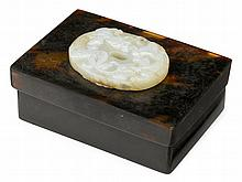 Chinese jade bi mounted faux tortise shell hinged box, jade qing dynasty, The rectangular tortise shell box mounted with a pale celadon