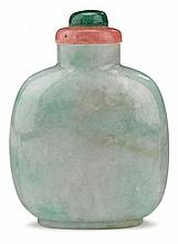 Chinse jadeite snuff bottle, qing dynasty, Well hollowed plain bottle, flat lip and raised on low oval footring.