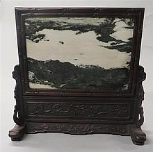 Chinese dreamstone inset hongmu tablescreen, , Grey and white stone evoking misty clouds, apron of stand decorated with leafy sprays, f