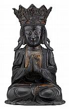 Large Chinese bronze figure of Guanyin, ming dynasty, The bodhisattva Avalokitesvara seated with hands in namaskara mudra, broad face e