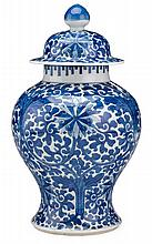 Chinese blue and white porcelain baluster jar and cover, kangxi period, Decorated throughout in a crip blue glaze with stylized lotus s