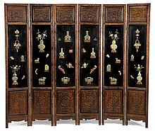 Chinese six-panel hardstone embellished rosewood floor screen, late qing / early republic period, The screen carved to frame and lesser
