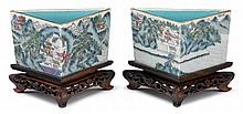Pair of Chinese triangular enameled porcelain pots, republic period, Vividly enameled to straight walls showing houses in a lakeside mo