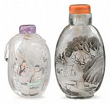 Two inside painted snuff bottles, signed ye zhongsan, early 20th century, Including rock crystal gourd form snuff bottle signed Ye Zhon