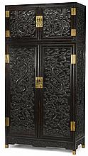 Large Chinese dark hardwood 'dragon' compound cabinet, , Double door upper chest and lower cabinet both decorated to door panels with