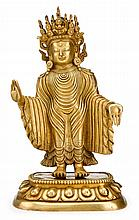 Sino-Tibetan gilt bronze standing figure of a bodhisattva, qing dynasty, The crowned figure in long gown with elaborate piping to front