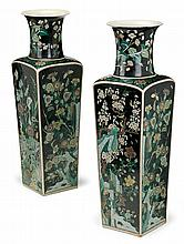 Large pair of Chinese famille noire porcelain vases, late 19th century, Flared rim over faceted base enabled to show foliage sprigs on