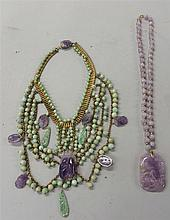Two Chinese jadeite and amethyst neckalces, 19th / 20th century, Including a lavender jade beaded necklace and pendent, the rectangular
