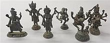 A group of six various bronze Hindu deities, , Consisting of Brahma, Vishnu, Shiva. Ganesha, Garuda, and one other standing deity.