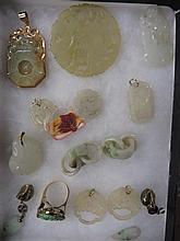 Group of Chinese jade jewelry pieces, , Earrings, reticulated plaque, pendants, 15 pieces total