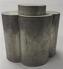 Large Chinese pewter canister and cover, 19th / 20th century, The quatrefoil canister incised with figures and flowers