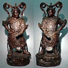 Pair Chinese painted bronze guardian figures, Weituo, modern, Standing buddhist guardian figures dressed in full armour with billowing