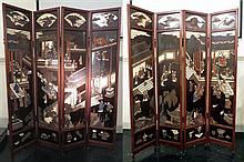 Large Chinese eight panel lacquered screen, 19th century, Comprising of eight hardwood framed tall carved and polychromed panels depict