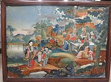 Large Chinese reverse painting on glass, 19th century, Wood and iron mounted glazed panel, well painted to show figural landscape.