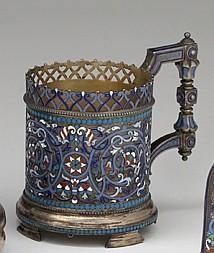 Russian cloisonné enamel silver podstakannik or tea glass holder, gustav klingert, assay master anatoly artsybashev, moscow, 1892, The