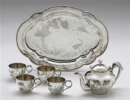 Chinese silver six-piece tea service, lao feng xiang co. ltd., shanghai, 20th century, Comprising a teapot, four cups, and shaped oval