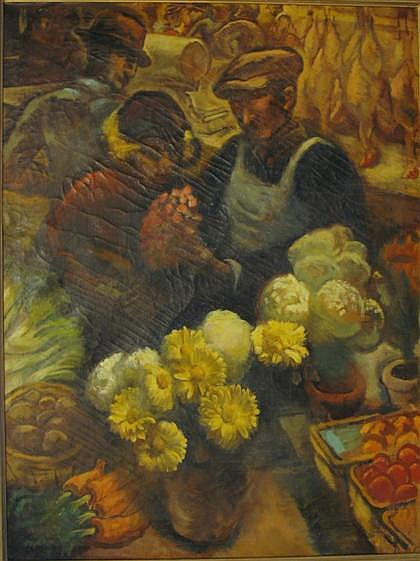 WALTER GARDNER, (BRITISH, B. 1902), FLOWER SELLER
