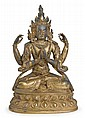 Chinese sino-tibetan gilt bronze bodhisattva, 18th century, Four arm manifestation of Avalokitesvara seated with legs crossed on a doub